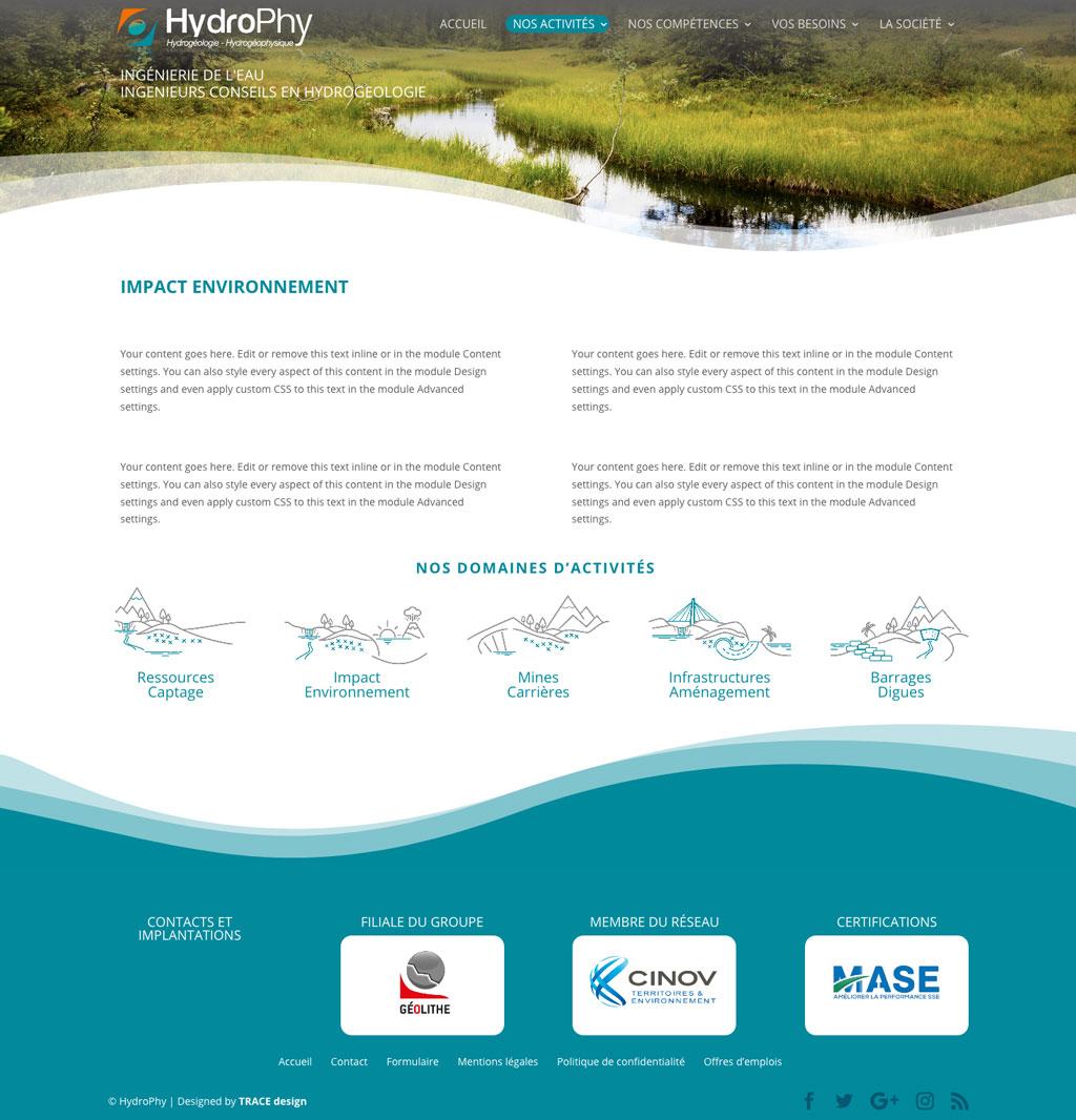 interface web page